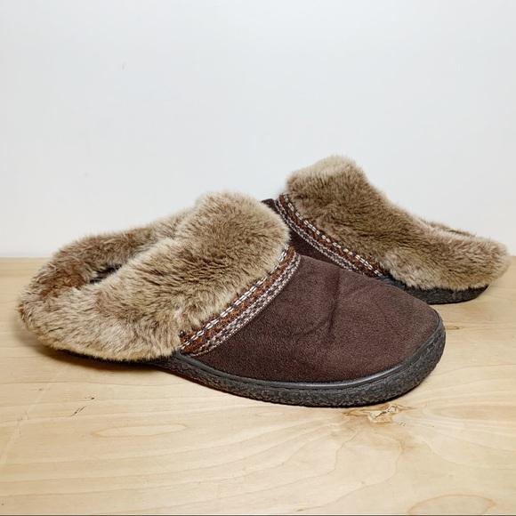 SmartZone Brown & Tan Faux Fur Slippers
